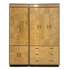 Henredon Olive Burl Burled Wood and Macassar Dresser Cabinet Shelving Wardrobe