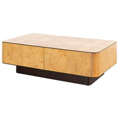 Henredon Olive Burlwood Cocktail Table with Hidden Storage Compartment