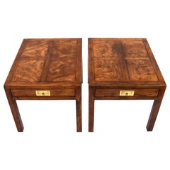 Henredon Parquetry Top Burl Walnut Campaign End Tables