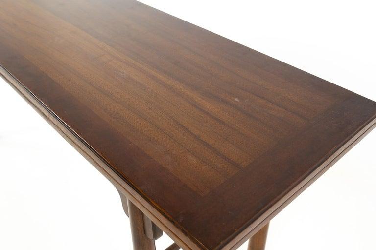 Henredon Robsjohn Gibbings Style Mid Century Walnut Drop-Leaf Dining Table For Sale 4