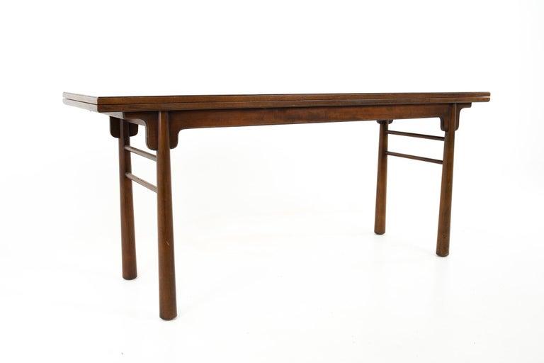 Late 20th Century Henredon Robsjohn Gibbings Style Mid Century Walnut Drop-Leaf Dining Table For Sale