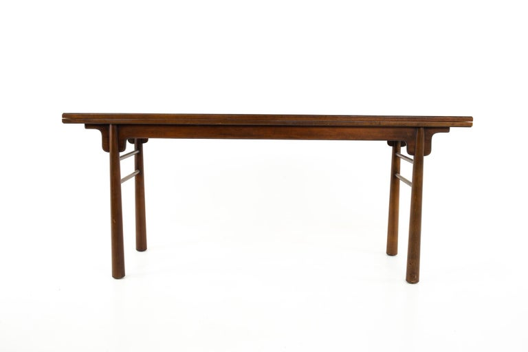 Henredon Robsjohn Gibbings Style Mid Century Walnut Drop-Leaf Dining Table For Sale 1