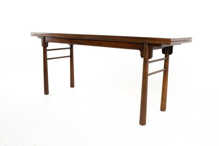Henredon Robsjohn Gibbings Style Mid Century Walnut Drop-Leaf Dining Table For Sale 2