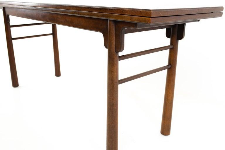 Henredon Robsjohn Gibbings Style Mid Century Walnut Drop-Leaf Dining Table For Sale 3