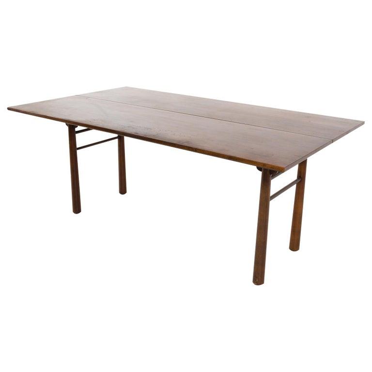Henredon Robsjohn Gibbings Style Mid Century Walnut Drop-Leaf Dining Table For Sale