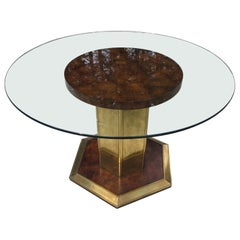 Henredon Style Round Burl Wood Dining Table with Glass Top