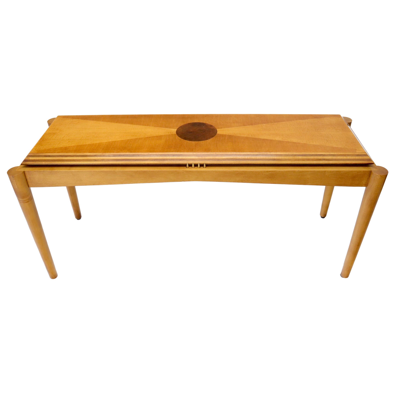 Henredon Satin and Burl Wood Console Table