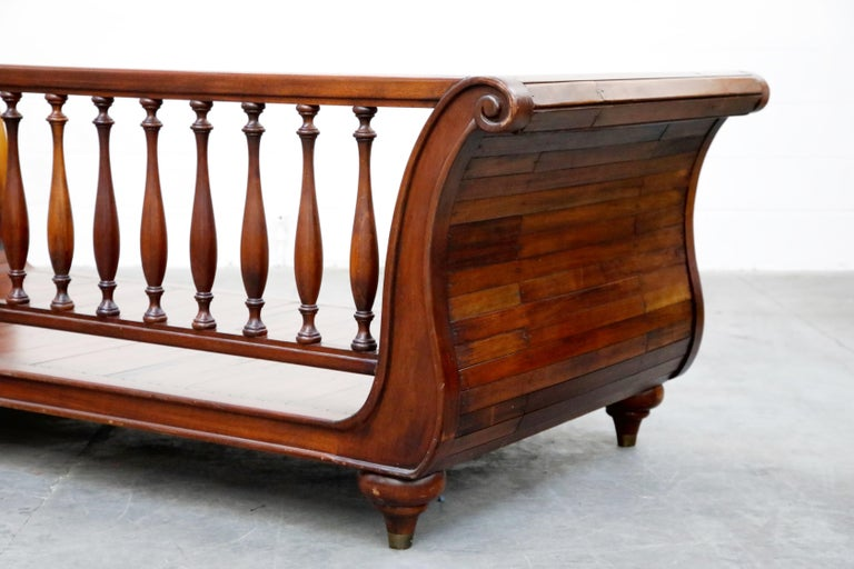 Henredon Sleigh Daybed or Sofa with Spindle Back and Rolled Arms, Signed For Sale 12