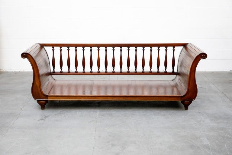 Mid-Century Modern Henredon Sleigh Daybed or Sofa with Spindle Back and Rolled Arms, Signed For Sale