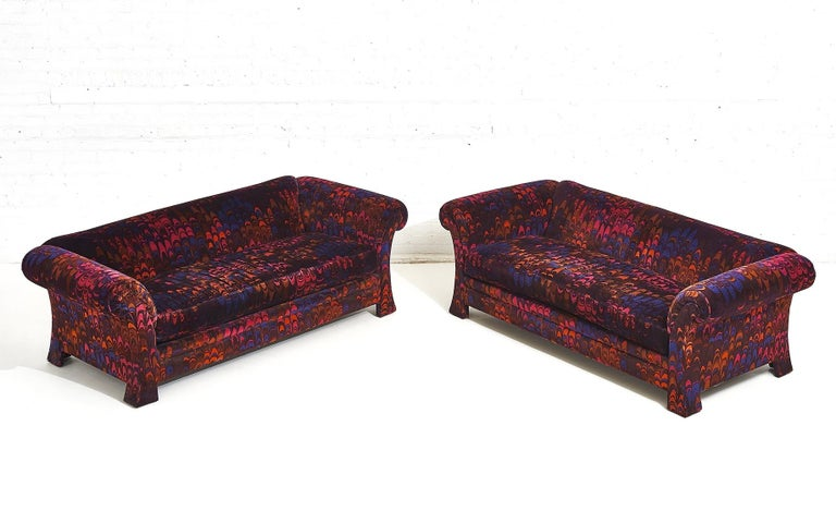 """Pair of Henredon sofas covered in Jack Lenor Larsen """"Aurora"""" velvet. Fabric is in excellent condition. Priced individually."""