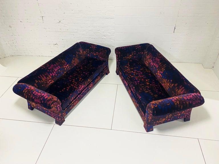 Mid-Century Modern Henredon Sofas in Jack Lenor Larsen Velvet For Sale