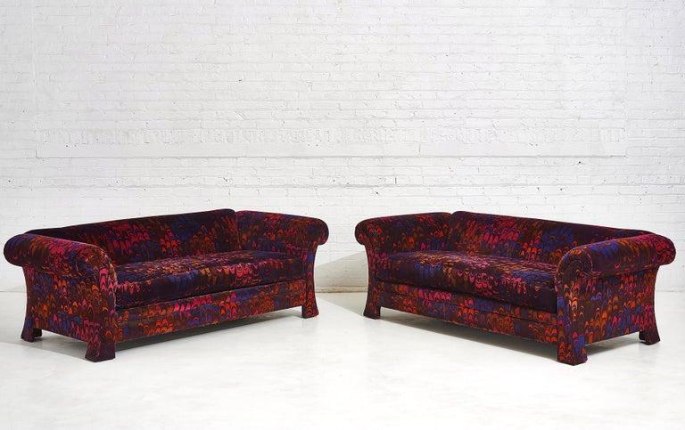 American Henredon Sofas in Jack Lenor Larsen Velvet For Sale