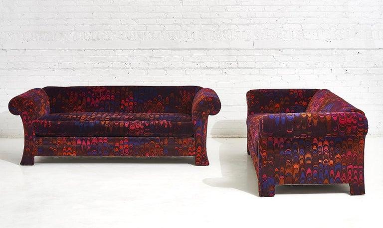 Henredon Sofas in Jack Lenor Larsen Velvet In Good Condition For Sale In Chicago, IL
