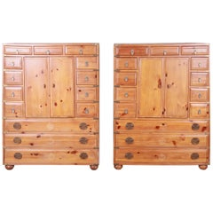 Henredon Solid Pine 14-Drawer Japanese Tansu Chests of Drawers, Pair