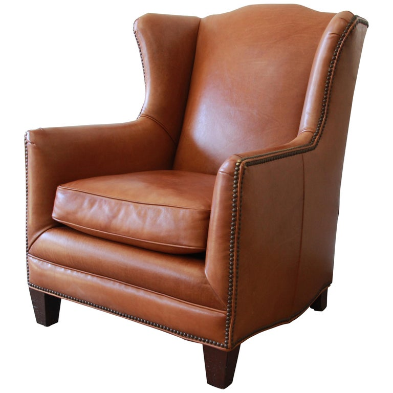 Henredon Studded Brown Leather Wingback Lounge Chair For