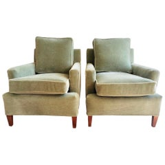 Henredon Tuxedo Club Chairs Newly Upholstered in Pale Green Mohair Fabric, Pair