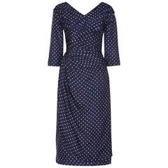Henri 1950s Silk Navy Polkadot Dress With Pleating Detail