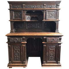 Henri 2 Cabinet or Secretaire in Sculpted Oak Renaissance Style, 19th Century