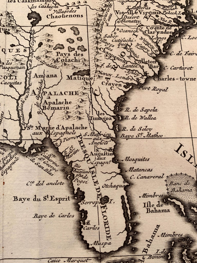 1719 Chatelain Map of Mexico, Southeast North America and the Caribbean  - Brown Landscape Print by Henri-Abraham Chatelain