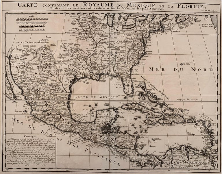 Henri-Abraham Chatelain Landscape Print - 1719 Chatelain Map of Mexico, Southeast North America and the Caribbean