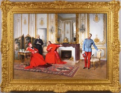 19th Century genre oil painting of cardinals and a soldier