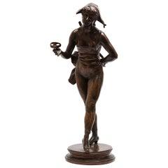 "Henri Allouard ""Colombina"" French Belle Epoque Bronze Sculpture"