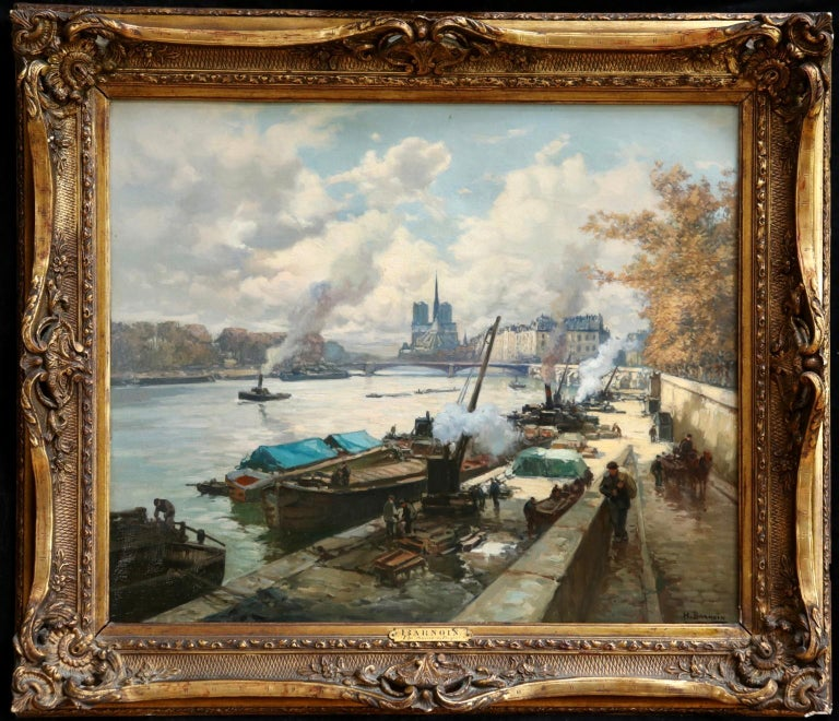 La Seine a Paris - Post Impressionist Oil, Boats in Riverscape by Henri Barnoin - Painting by Henri Alphonse Barnoin