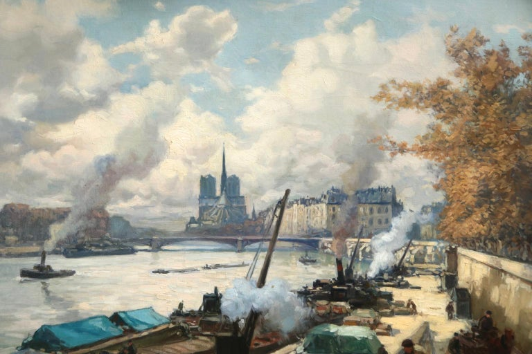 La Seine a Paris - Post Impressionist Oil, Boats in Riverscape by Henri Barnoin - Post-Impressionist Painting by Henri Alphonse Barnoin
