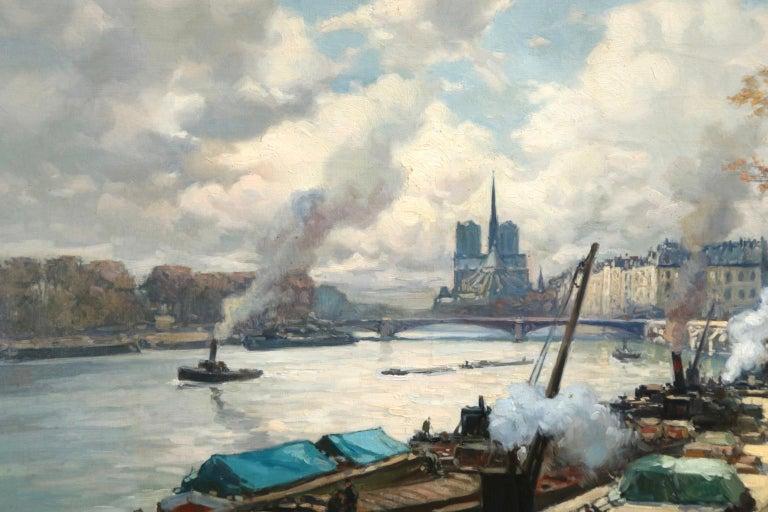 La Seine a Paris - Post Impressionist Oil, Boats in Riverscape by Henri Barnoin - Gray Landscape Painting by Henri Alphonse Barnoin