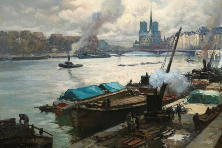 A beautifully painted oil on canvas circa 1915 by French post impressionist painter Henri Alphonse Barnoin. The piece depicts workers on the banks of the river Seine, with boats on the river and a view of Paris beyond. Signed lower