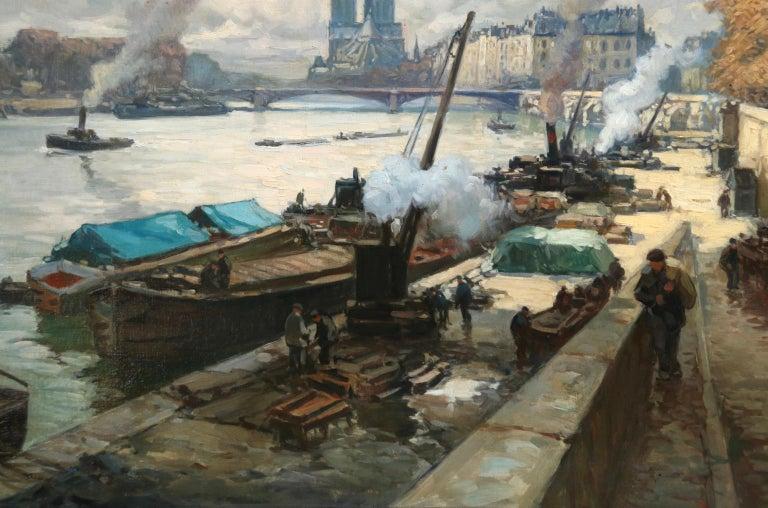 La Seine a Paris - Post Impressionist Oil, Boats in Riverscape by Henri Barnoin For Sale 1