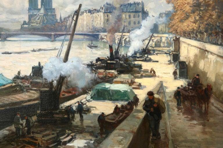 La Seine a Paris - Post Impressionist Oil, Boats in Riverscape by Henri Barnoin For Sale 2