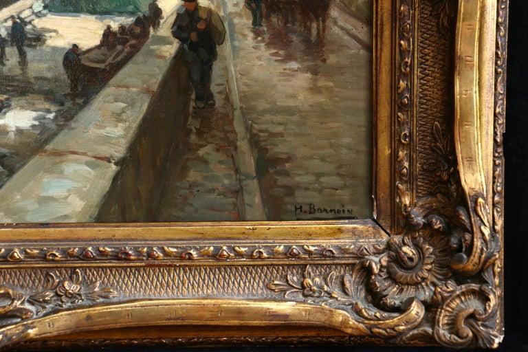 La Seine a Paris - Post Impressionist Oil, Boats in Riverscape by Henri Barnoin For Sale 3