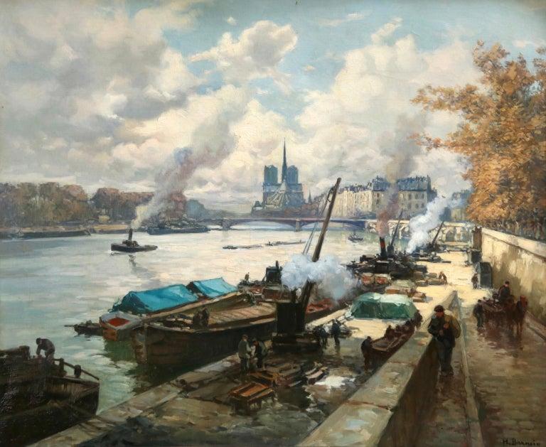 Henri Alphonse Barnoin Landscape Painting - La Seine a Paris - Post Impressionist Oil, Boats in Riverscape by Henri Barnoin
