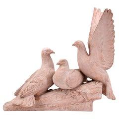 Henri Bargas, the Three Doves, French Art Deco Terracotta, 1920s
