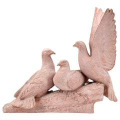Henri Bargas, the Three Doves, French Art Deco Terracotta, 1920s