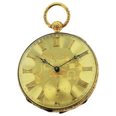 Henri Beguelin 18Kt. Solid Gold High Grade Swiss Keywind Pocket Watch circa 1840