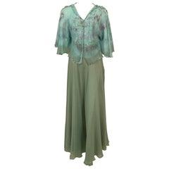 Henri Bendel 1970's Tie Dye Silk Chiffon Top and Eau de Nil Silk Chiffon Skirt