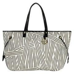 Henri Bendel Brown White Disturb Stripe Coated Canvas Tote Bag