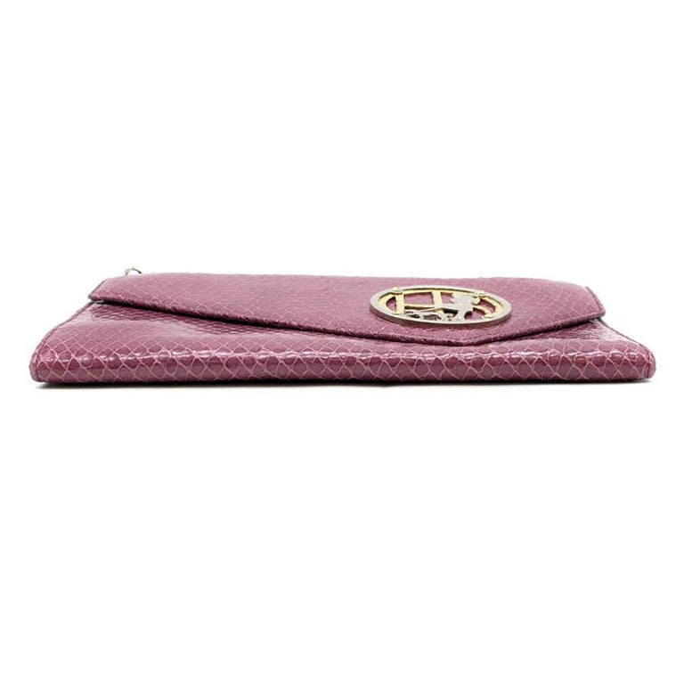 Henri Bendel Purple Crocodile-effect Clutch Bag In Good Condition For Sale In London, GB