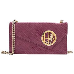 Henri Bendel Purple Crocodile-effect Clutch Bag