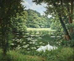 Nympheas - 19th Century Oil, Waterlilies in Pond in Landscape by Henri Biva