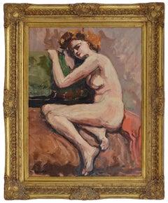 Henri BOCCARA, Nude on the sofa, Oil on cardboard