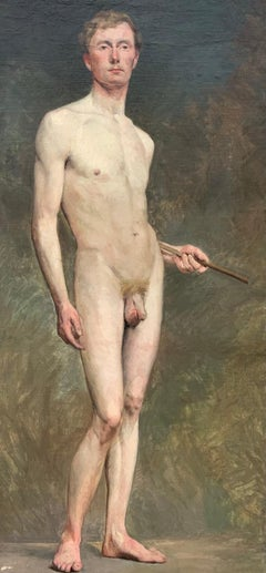 Antique Male Academic Nude Painting Henri Brugnot Exposition Label 1st Prize