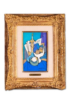 French Cubist blue still life with candle, books and fruit by Clement Serveau