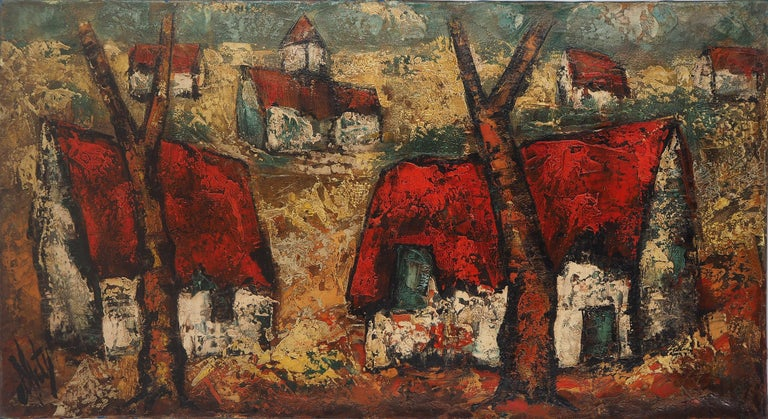 Brittany : Small Traditional Village - Original Oil on canvas, Handsigned - Modern Painting by Henri d'Anty