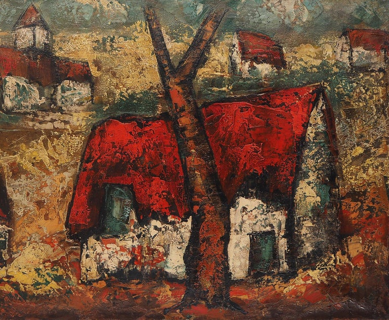 Brittany : Small Traditional Village - Original Oil on canvas, Handsigned - Brown Landscape Painting by Henri d'Anty