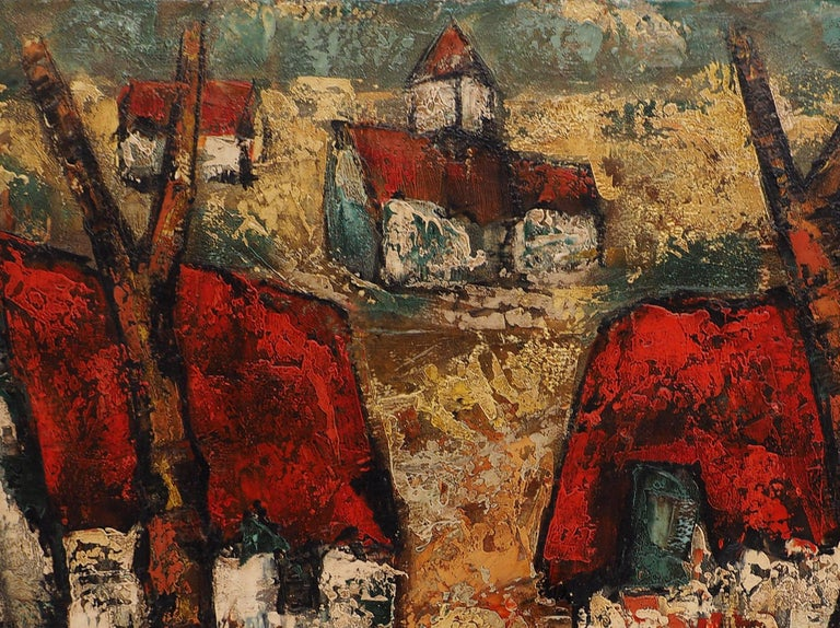 Henri d'Anty Brittany : Small Traditional Village  Original oil on canvas Handsigned bottom left On canvas 55 x 100 cm (c. 22 x 40  inch)  Excellent condition