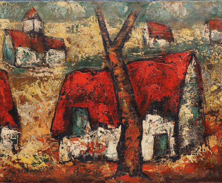 Brittany : Small Traditional Village - Original Oil on canvas, Handsigned For Sale 1