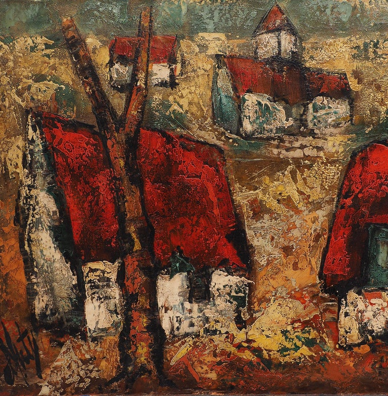 Brittany : Small Traditional Village - Original Oil on canvas, Handsigned For Sale 2